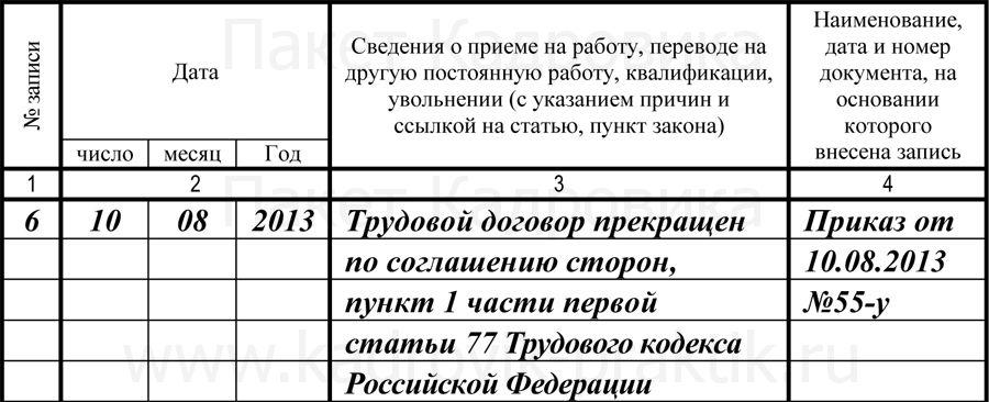 Увольнение по соглашению сторон - образец записи в трудовую книжку