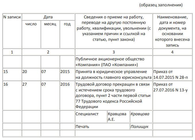 Изображение - Запись в трудовой книжке по срочному трудовому договору - образец obrazec-trudovoi
