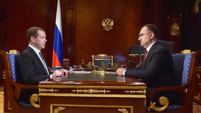 Дмитрий Медведев и глава ПФР Антон Дроздов